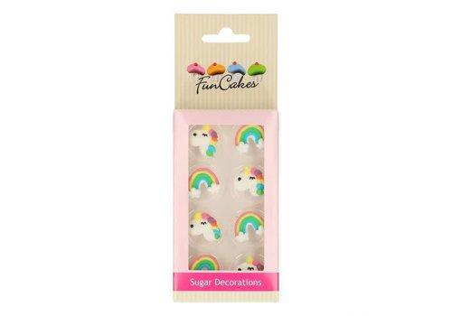 Suikerdecoratie Eenhoorn & Regenboog Set/8