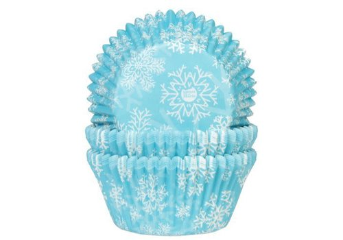 House of Marie Baking Cups Sneeuwkristal Blauw pk/50