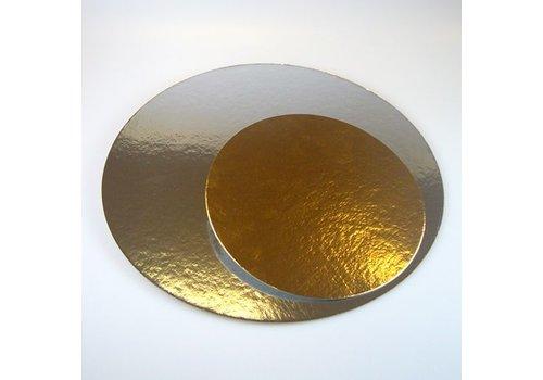 Taartkartons zilver/goud ROND 25cm, pk/3