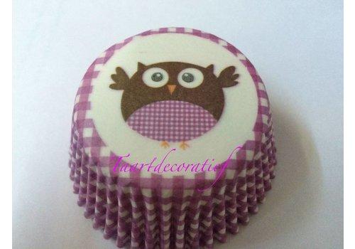 Cupcake wrapper paars met uil