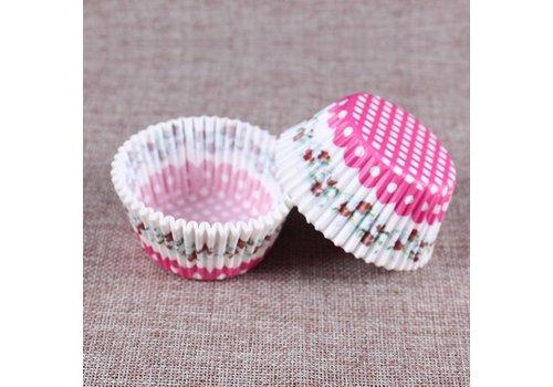 Cupcake wrapper bloem en roze stip