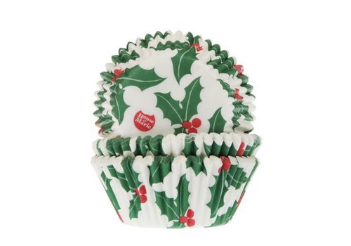 House of Marie Baking Cups Kerst Hulst pk/50