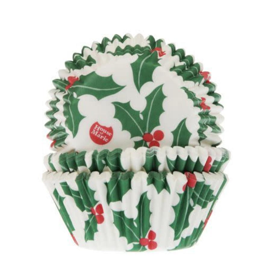 House of Marie Baking Cups Kerst Hulst pk/50-1