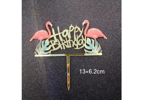 Taarttopper flamingo happy birthday