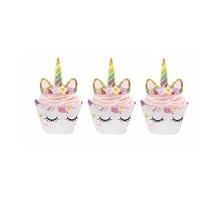 thumb-Eenhoorn cupcake wrappers met prikker 12stuks-1