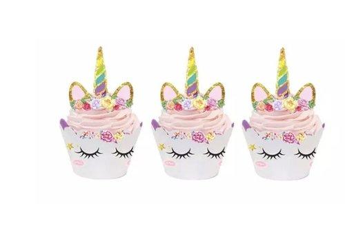 Eenhoorn cupcake wrappers met prikker 12sets