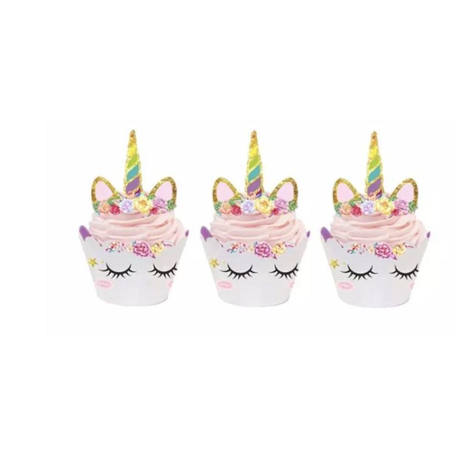 Eenhoorn cupcake wrappers met prikker 12stuks-1