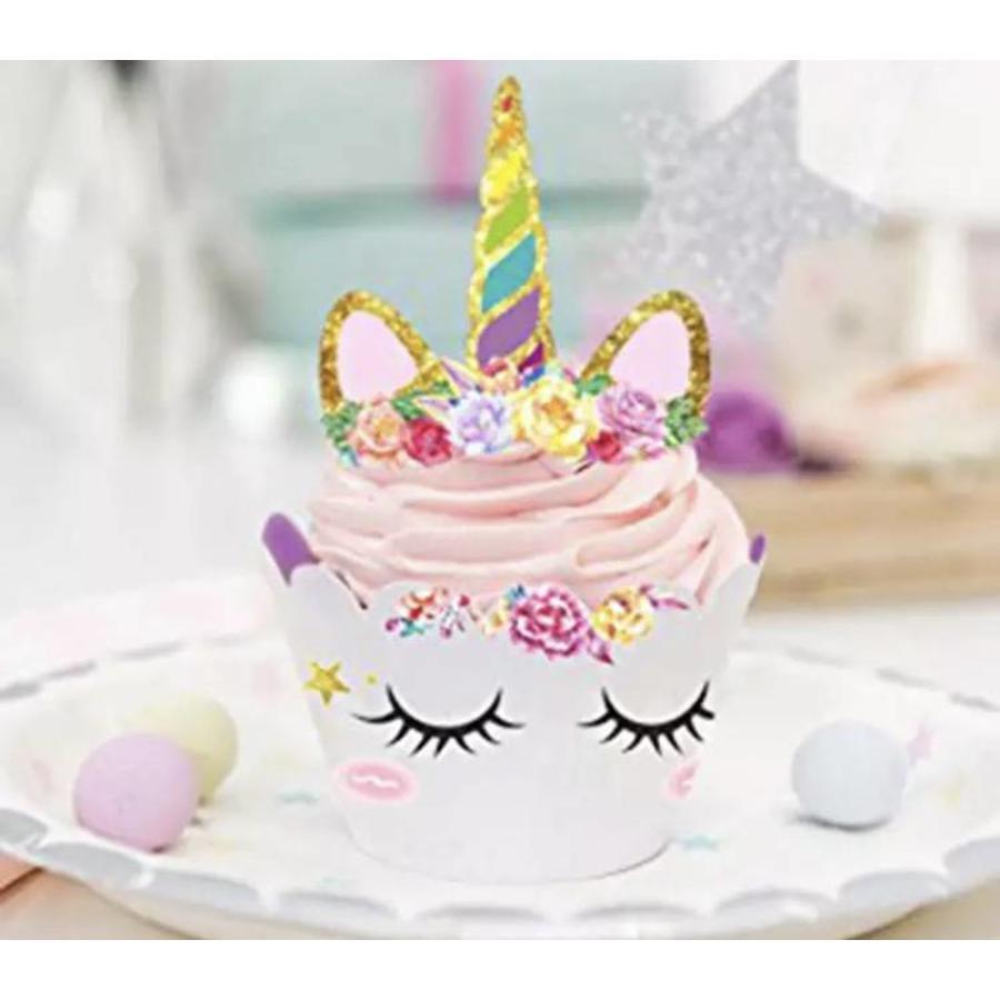 Eenhoorn cupcake wrappers met prikker 12stuks-2