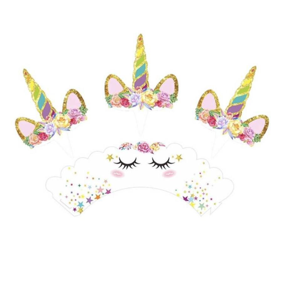Eenhoorn cupcake wrappers met prikker 12stuks-3