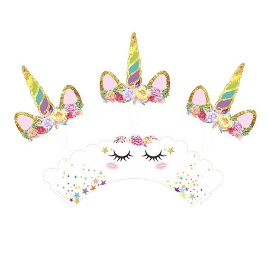 Eenhoorn cupcake wrappers met prikker-3