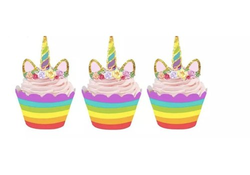 Eenhoorn cupcake wrapper regenboog met prikker