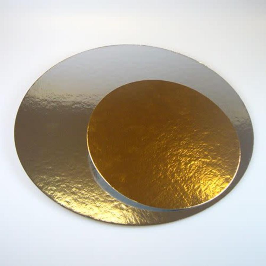 FunCakes Taartkartons zilver/goud ROND 35cm, pk/3-1