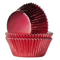 House of Marie Baking Cups Folie rood pk/24