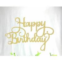 happy birthday topper goud