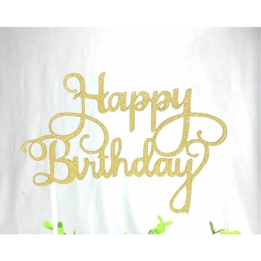 happy birthday topper goud-1