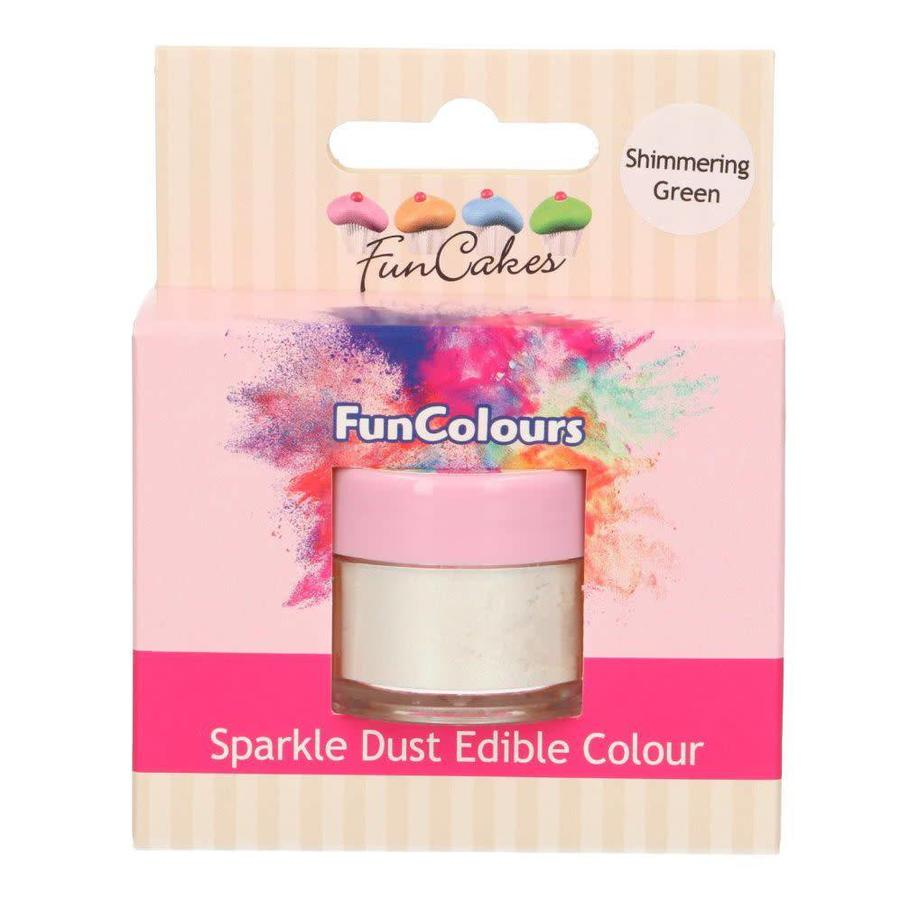 FunCakes Edible FunColours Sparkle Dust - Shimmering green-1