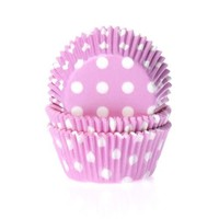 House of Marie Baking cups Stip Roze - pk/50