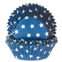 House of Marie Baking Cups Ster Blauw pk/50