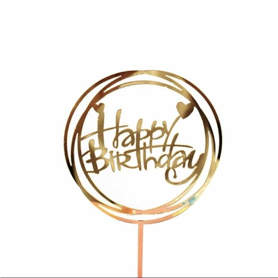 happy birthday topper hart goud-1