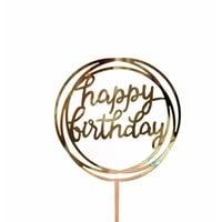happy birthday topper goud rond