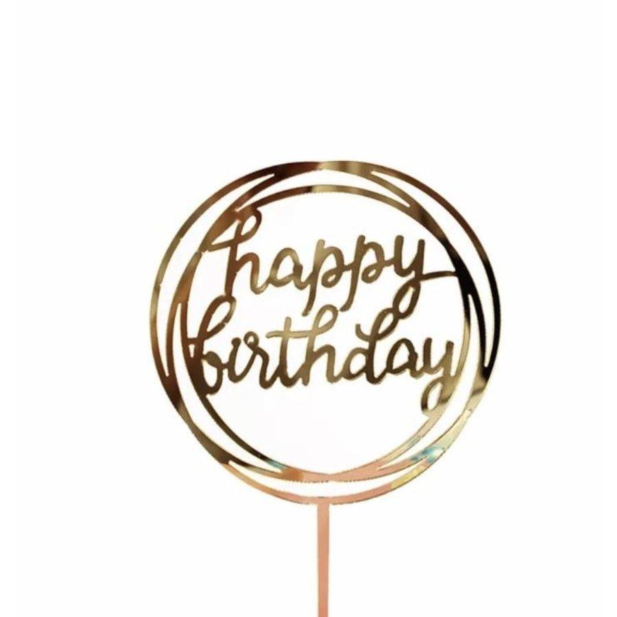 happy birthday topper goud rond-1