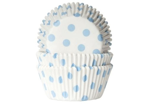 House of Marie Baking cups Stip Wit/Baby Blauw - pk/50