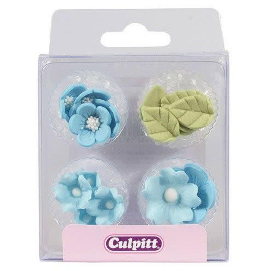 Culpitt Suikerdecoratie Bloem & Blad Blauw pk/16-1