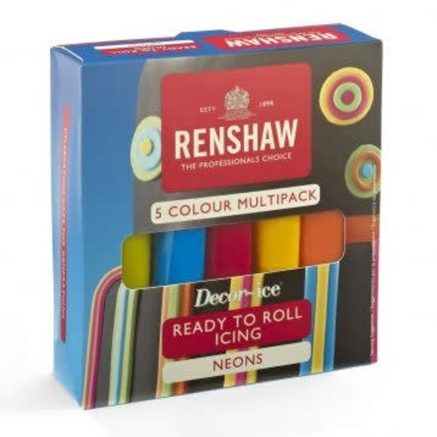 Renshaw Rolfondant Pro Multipack -Neon Colours- 5x100g-1