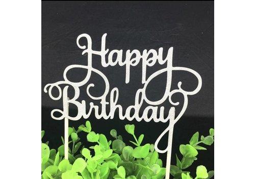 happy birthday topper zilver