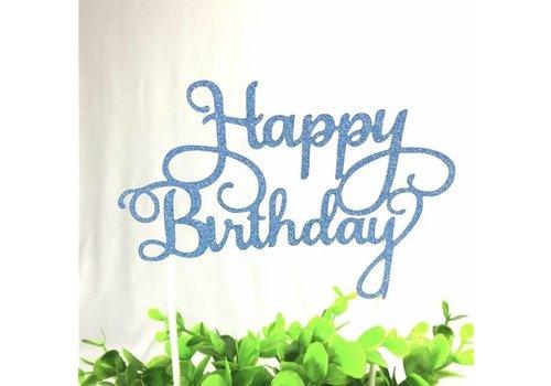 happy birthday topper blauw