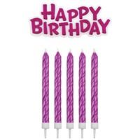 PME Candles & Happy Birthday roze pk/17