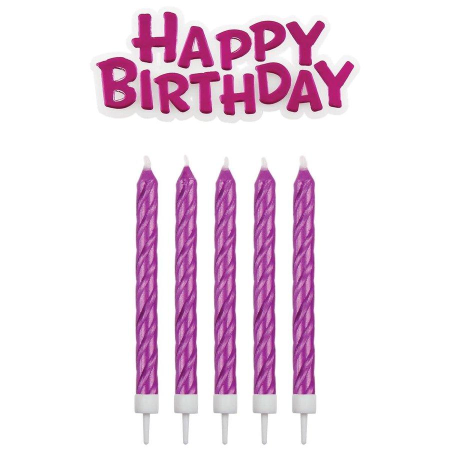 PME Candles & Happy Birthday roze pk/17-1