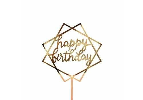 happy birthday topper square goud