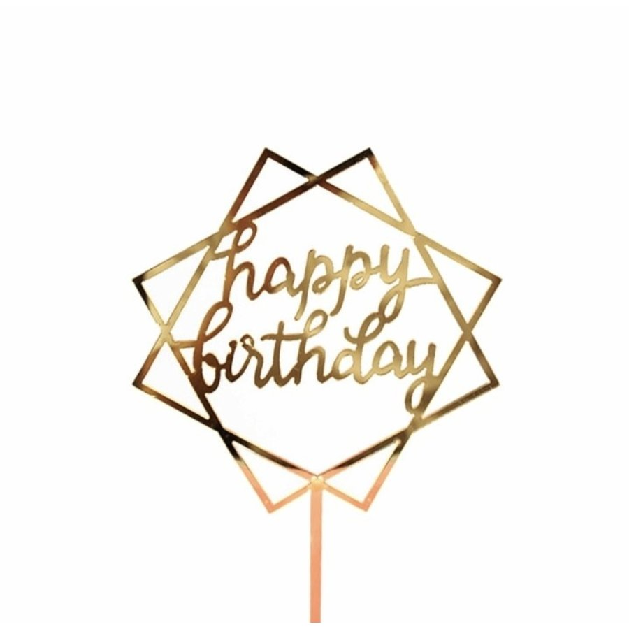 happy birthday topper square goud-1