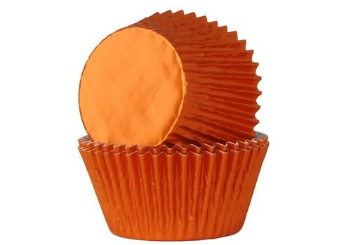 House of Marie Baking Cups Folie Oranje pk/24