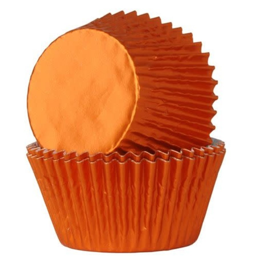 House of Marie Baking Cups Folie Oranje pk/24-1