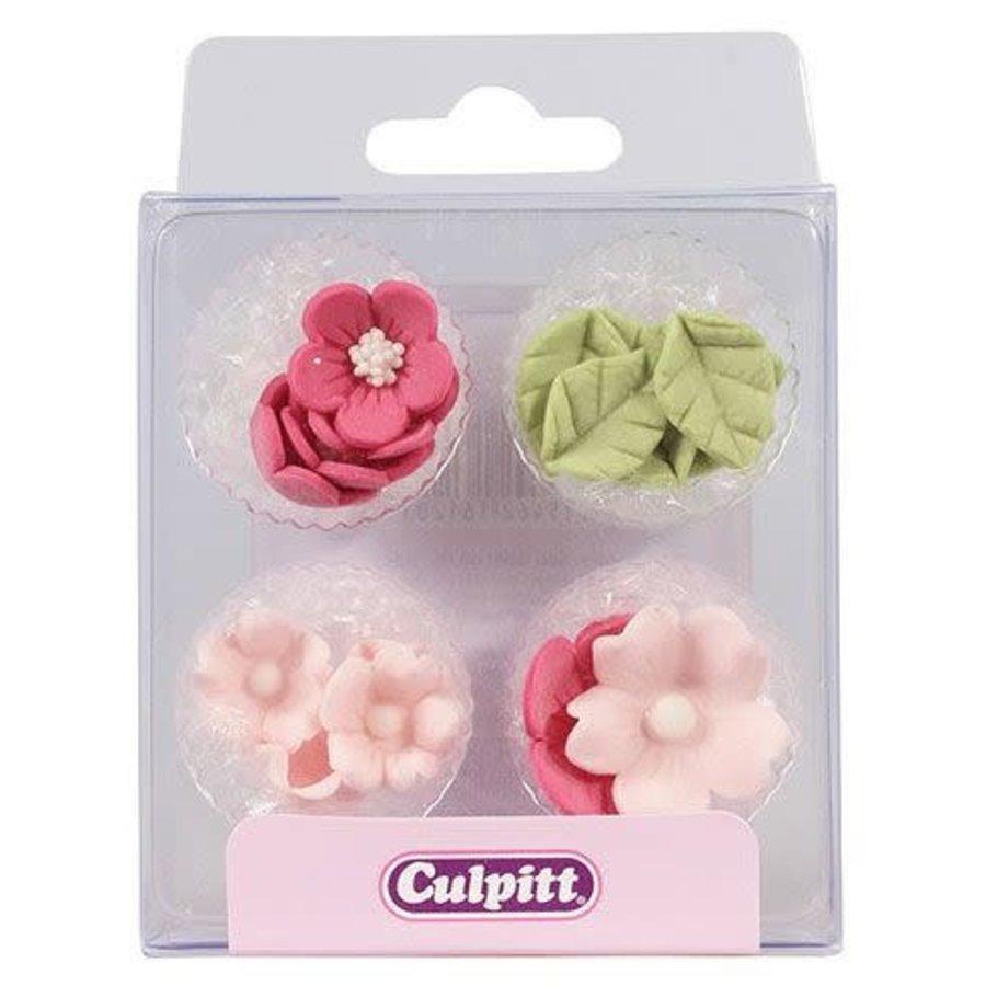 Culpitt Suikerdecoratie Bloem & Blad Roze pk/16-1