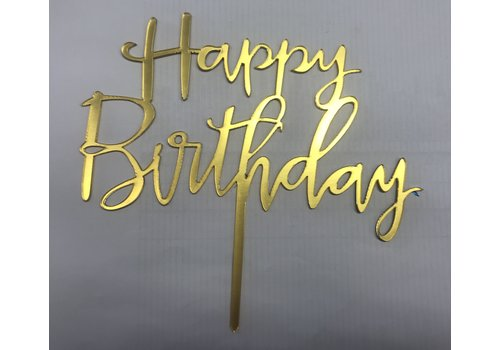 happy birthday topper sierlijk goud
