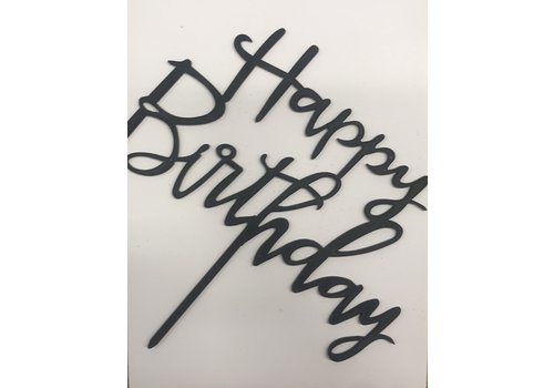 happy birthday topper sierlijk zwart