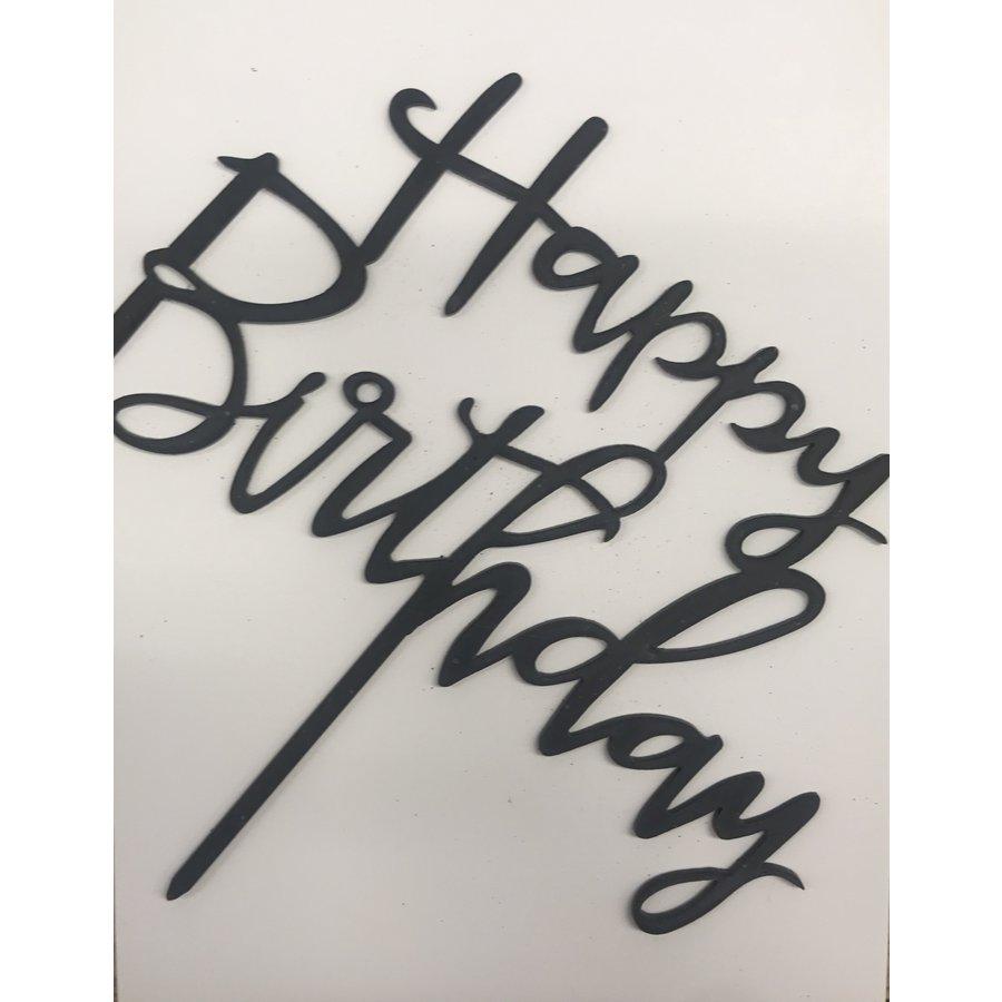 happy birthday topper sierlijk zwart-1