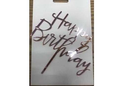 happy birthday topper sierlijk roze