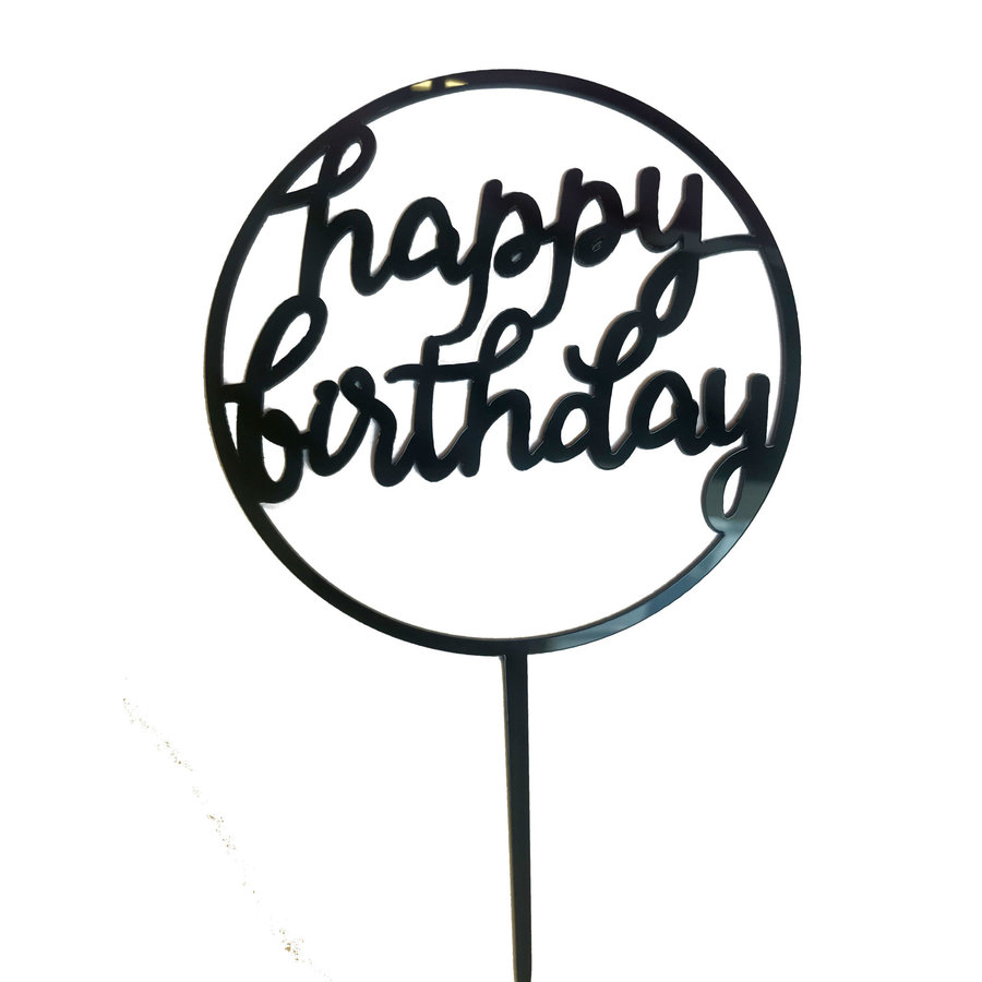 happy birthday topper cirkel zwart-1