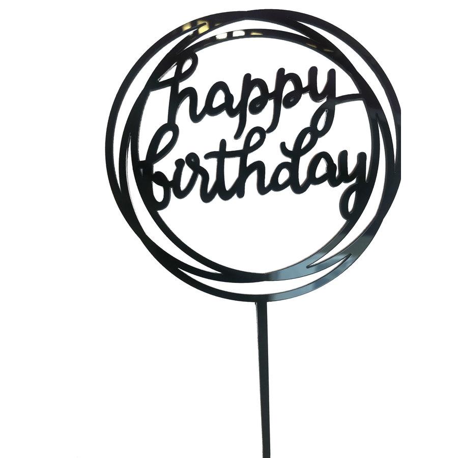 happy birthday topper rond zwart-1