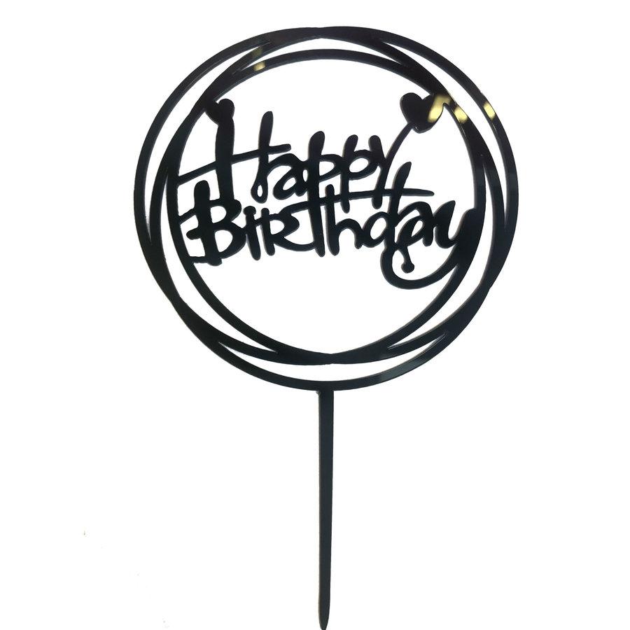 happy birthday topper hart zwart-1