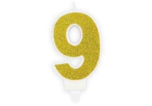 PartyDeco Verjaardag Kaars Nummer 9 - Goud
