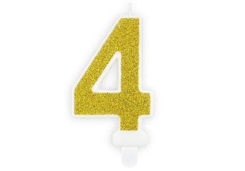 PartyDeco Verjaardag Kaars Nummer 4 - Goud