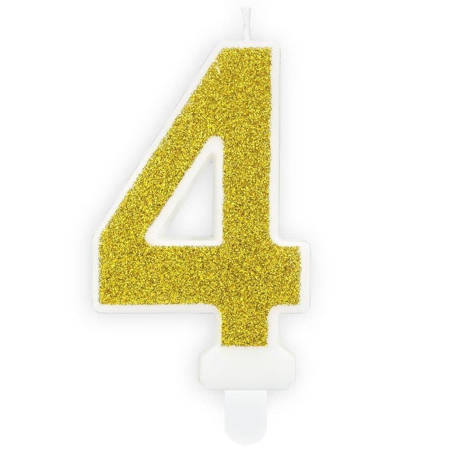 PartyDeco Verjaardag Kaars Nummer 4 - Goud-1