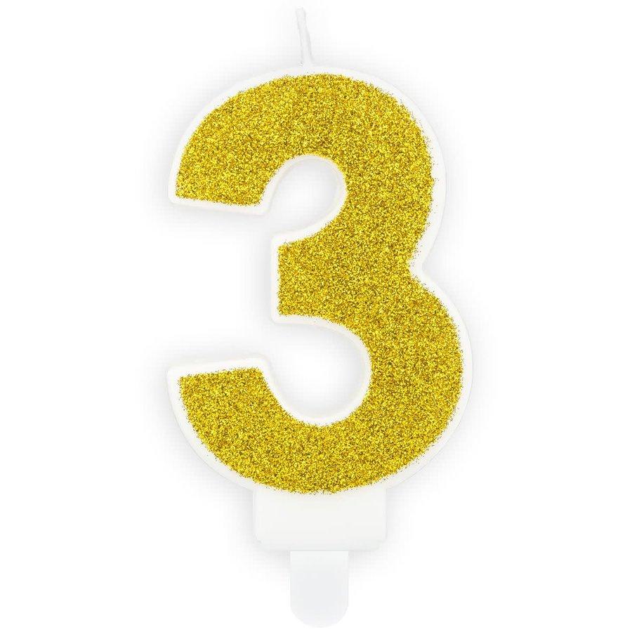 PartyDeco Verjaardag Kaars Nummer 3 - Goud-1