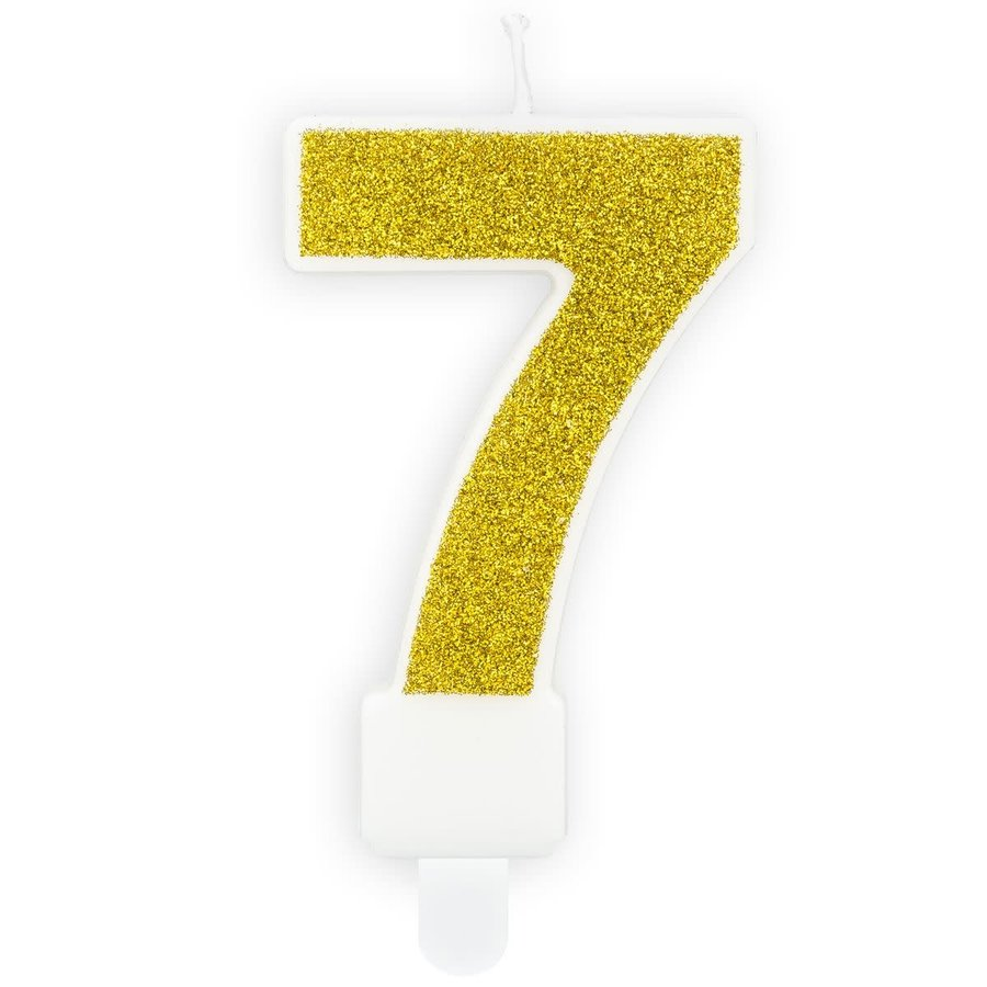 PartyDeco Verjaardag Kaars Nummer 7 - Goud-1