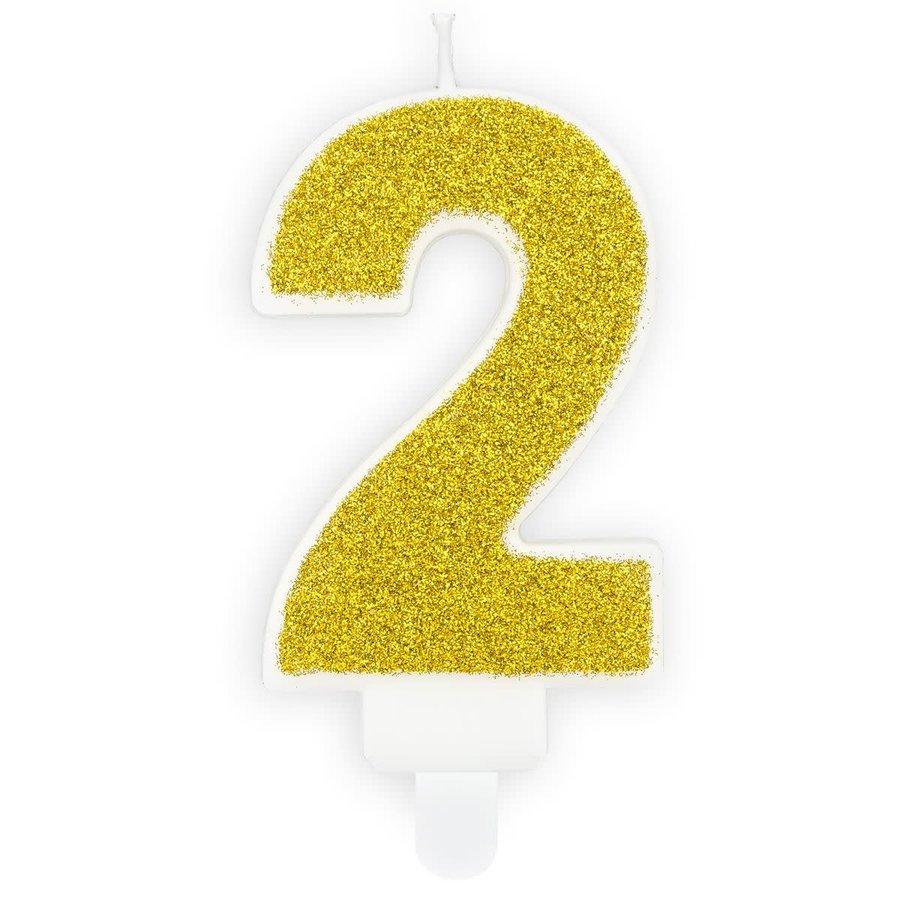 PartyDeco Verjaardag Kaars Nummer 2 - Goud-1